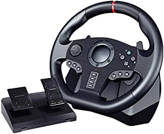 V900 Gaming Steering Wheel with Pedals, 270/900 Degree Adjustable Steering Wheel for Nintendo Switch PC / PS3 / 4 / Xbox One