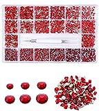 Rhinestone Crafts - Diamante para clavos/ropa, joyería de uñas de diseñador, 10040 piezas de gemas acrílicas y cuentas de uñas VOSOVOVO-1400+8600 rojo