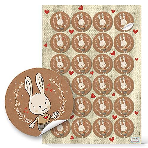 Logboek-uitgeverij Paassticker Paashaas Vrolijk Pasen decoratie sticker haas 4 cm rond natuur beige rood 1 Bogen / 24 Aufkleber Paashaas staand zonder tekst - bruin beige