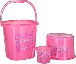 Nayasa Funk Square DLX 3 Pcs Bathroom Set (Bucket 25 L+Mug 1.5 L+Stool) Pink