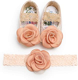 Kuner Toddler Baby Girls Shoes Soft Soled Wedding Shoes Ballerina Girls Lace Flower Shoes with Bow Ribbon