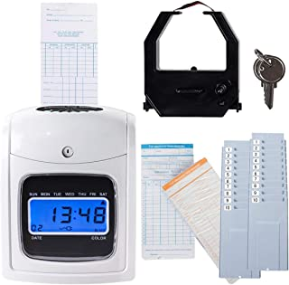 Goplus Electronic Time Clock, Employee Time Recorder with 200 Cards & 2 Time Cards Racks, Time Attendance Clock (White)