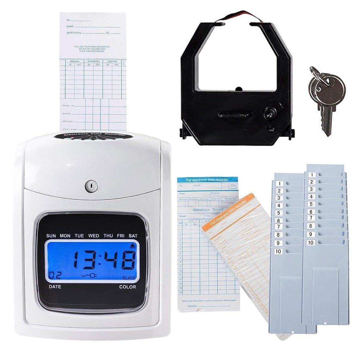 形状不運どきどきGoplus 電子タイムクロック 従業員タイムレコーダー カード200枚とタイムカード2本のラック タイムアテンダンス時計 ホワイト