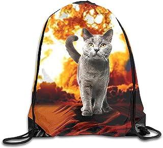 Mochilas con Cordón Fire Cat Explosion Película De Acción Crazy Space Kitty Bolsas De Hombro Viaje Deporte Gimnasio Mochila Yoga Runner Daypack Mochila Bolsas
