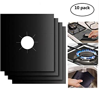 """Gas Stove Burner Covers 10 Pack- XZSUN 0.2mm Double Thickness Reusable Gas Range Protectors For Kitchen&Cooking (10.6""""x10.6"""")"""