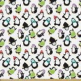 ABAKUHAUS Pinguin Stoff als Meterware, Glückliche lustige