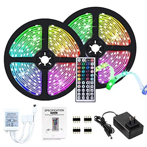 Lumières de bande menées, 10M led ruban, 5050 lumières LED RVB, non étanche IP20 avec 20 couleurs 8 lumières, kit de bandes de lumières LED avec 44 touches Télécommande IR Alimentation 12V (10M)