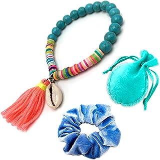 FineFun VSCO Bracelets for Girls Women, VISCO Girl Shell Braided Friendship Bracelets, Jewelry Gift for Women Teen Girls (Blue)