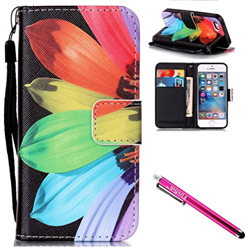 """iPhone 6S Plus Case, Firefish Kickstand Card Slots Cash Holder Dual Layer Impact Resistant Case Cover with Wrist Strap Magnetic Snap Closure for Apple iPhone 6 Plus / 6S Plus 5.5""""-Sunflower"""