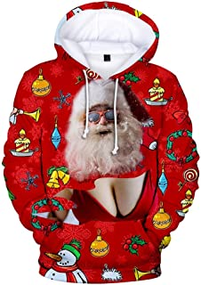 Holzkary Men's 3D Photo-Realistic Ugly Christmas Holiday Long Sleeve Hoodies Pullover Tops