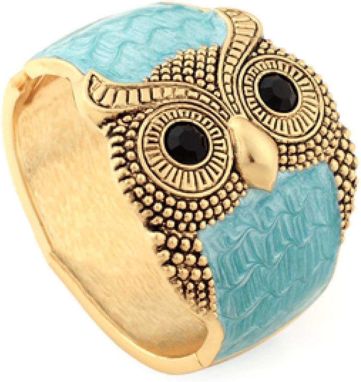 Zicue Stylish Charming Bracelet Exquisite Ornaments Bracelet Women's Accessories Pop Retro Owl Hand Jewelry Fashion Exaggeration Bracelet ( color   Lakebluee , Size   One Size )