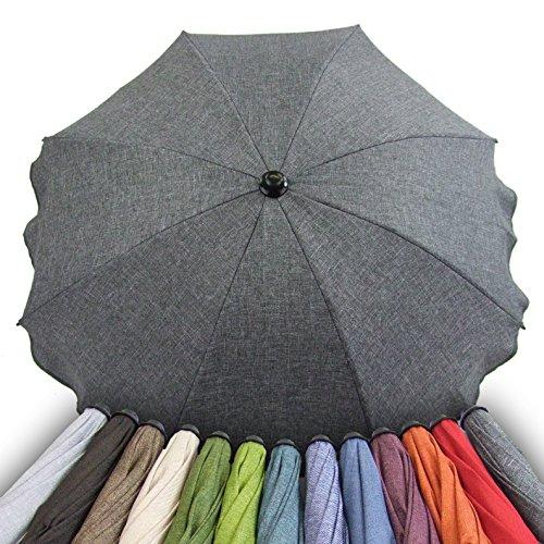 BAMBINIWELT Sonnenschirm für Kinderwagen Ø68cm UV-Schutz50+ Schirm Sonnensegel Sonnenschutz MELIERT (dunkelgrau meliert)