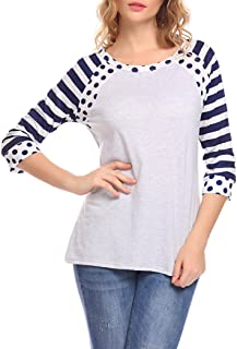 Women's Striped Polka Dot Print 3/4 Sleeve Raglan Shirt Patchwork T-Shirt