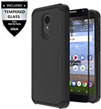 Alcatel TCL LX Case, Alcatel Avalon V/Alcatel IdealXtra/Alcatel 1X Evolve Case with Tempered Glass Screen Protector,IDEA LINE Heavy Duty Protection Hybrid Hard Shockproof Slim Fit Cover - Black