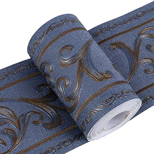 Creation Core 3D Pattern Wall Decor Sticker Kitchen Bathroom Waterproof Wallpaper Border Removable Self Adhesive Tiles (Iris Navy Blue)