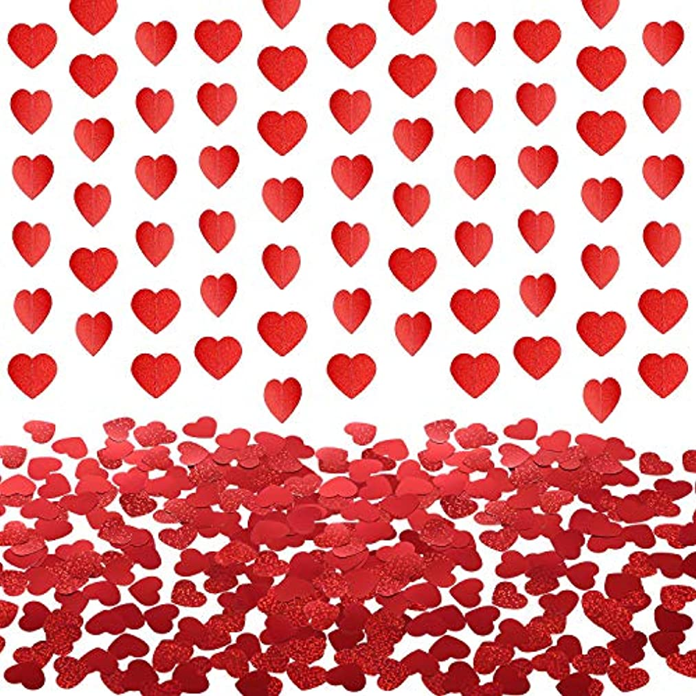 TecUnite 5 Pack 3m Paper Heart Garland Banner with 400 Pieces Valentine Heart Confetti for Valentine's Day Wedding Party Decoration