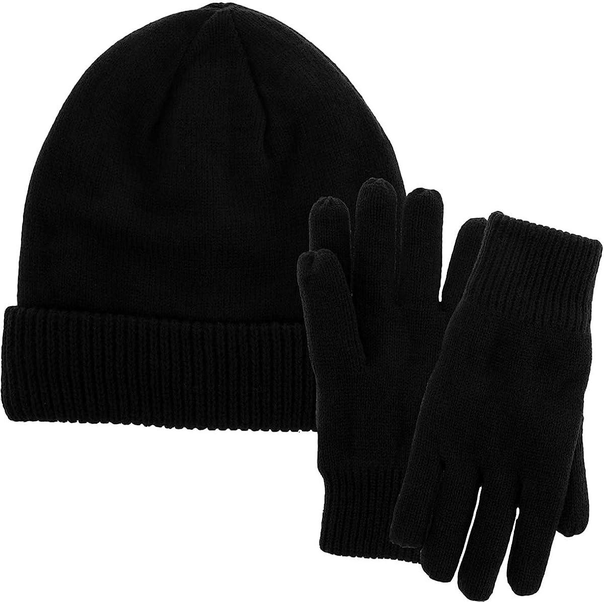 Men Winter Hat and Gloves Set Warm Fleece Beanie Knit Hat with Winter Gloves