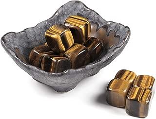 Jovivi 12pcs Irregular Natural Tiger Eye Chakra Healing Crystals Stones Kits Tumbled Gemstones w/Ceramic Holder Bowl for Reiki Meditation Spiritual Feng Shui Home Office Decor