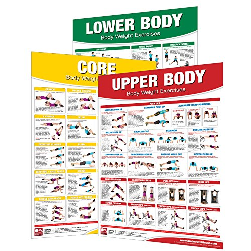 Laminated Bodyweight Workout Set of Posters/Charts - Bodyweight Training - Created by University Accredited Fitness Experts - Bodyweight Exercises - ... Chest Workout - Bodyweight Leg Work Michigan