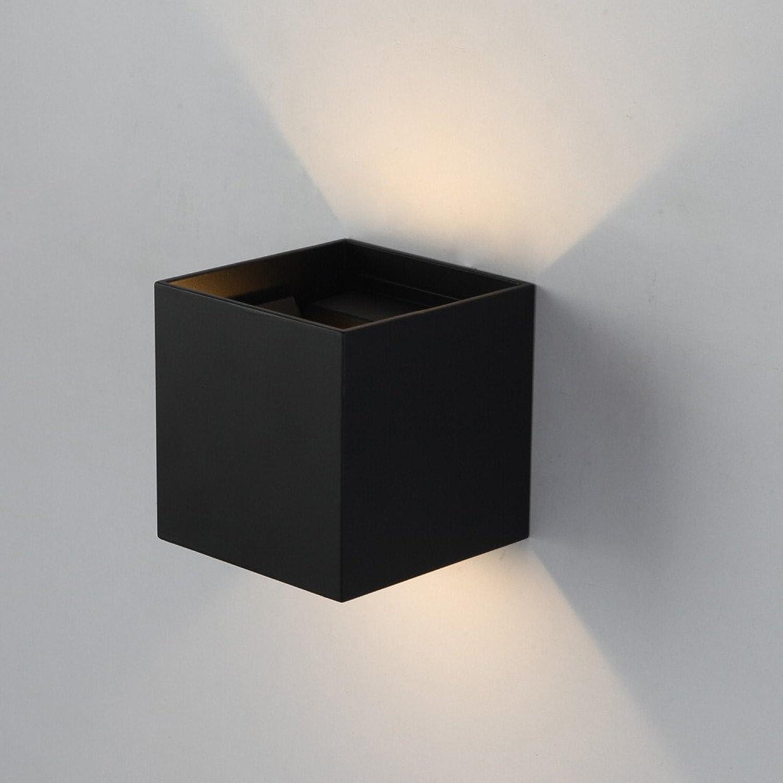 Firsthgus E27 Led Aluminium Wandleuchte Einstellbare Licht Im Freien Wasserdichte Wandleuchte Gang Balkon Licht, Schwarz 10X10X10 Cm
