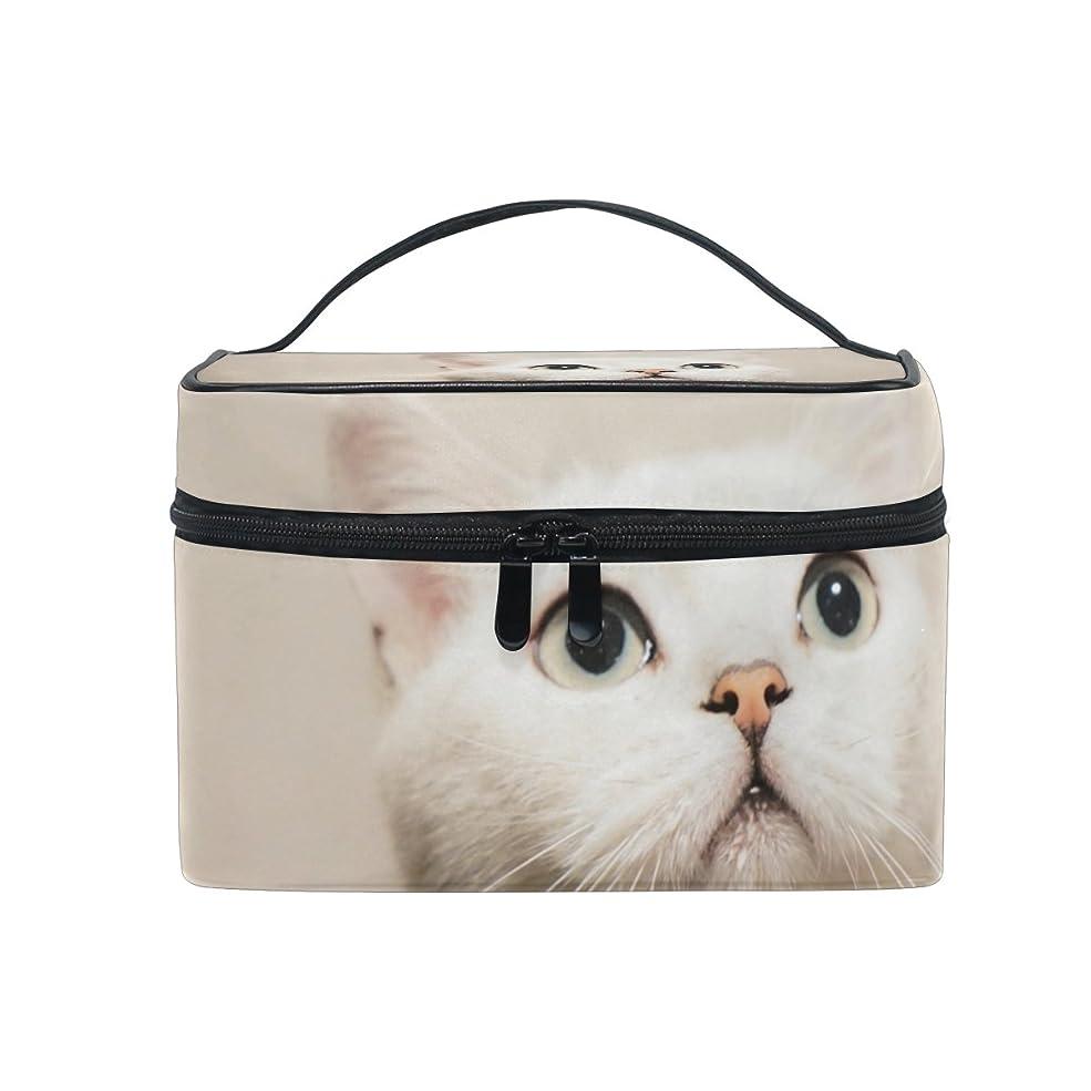 送るワイプ戦術Natax 化粧ポーチ 大容量 かわいい おしゃれ 機能的 バニティポーチ 収納ケース ポーチ メイクポーチ ボックス 小物入れ 仕切り 旅行 出張 持ち運び便利 コンパクトかわいい猫