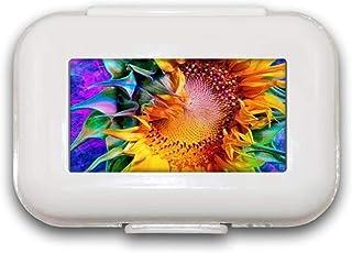 Zonnebloem Pill Box Pill Case Pill Organizer Decoratieve dozen Pill Box voor Pocket of Purse - 8 Compartiment Pill Box/Pil...