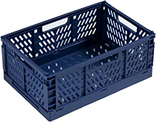 収納ケース 折りたたみ コンテナ ボックス M码 積み重ね 取っ手付き かご バスケット 小型 軽量 折り畳み プラスチック おしゃれ メッシュ ハンディ (ブルー)