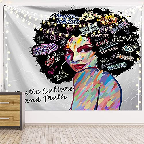 DSman Tapiz Pared,Tapiz de tapices de Pared de algodón,Colcha de pícnic,Tapices Decorativos Impresión Digital de Tela Colgante Mujer Africana