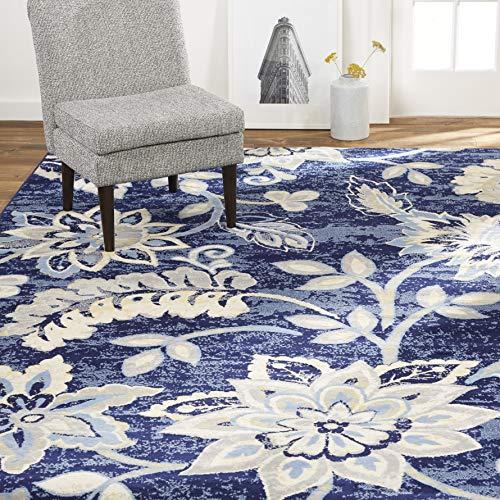 Home Dynamix Tremont Teaneck Transitional Area Rug, Floral Navy Blue 7'10
