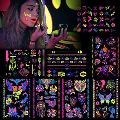 Konsait 8 groß Blätter Klebetattoos temporäre Neon Tattoos schwarzlicht schminke UV Body & Face Painting Tätowierung Aufklebe für Frauen männer, Accessoire für Schwarzlicht Party & Festivals