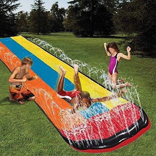BZLLW Tobogán de agua, de gran espesor de PVC de seguridad a prueba de desgarro tobogán de agua del césped del patio trasero Jardín de verano al aire libre de agua de juguete de juego Acuáticos de Sup