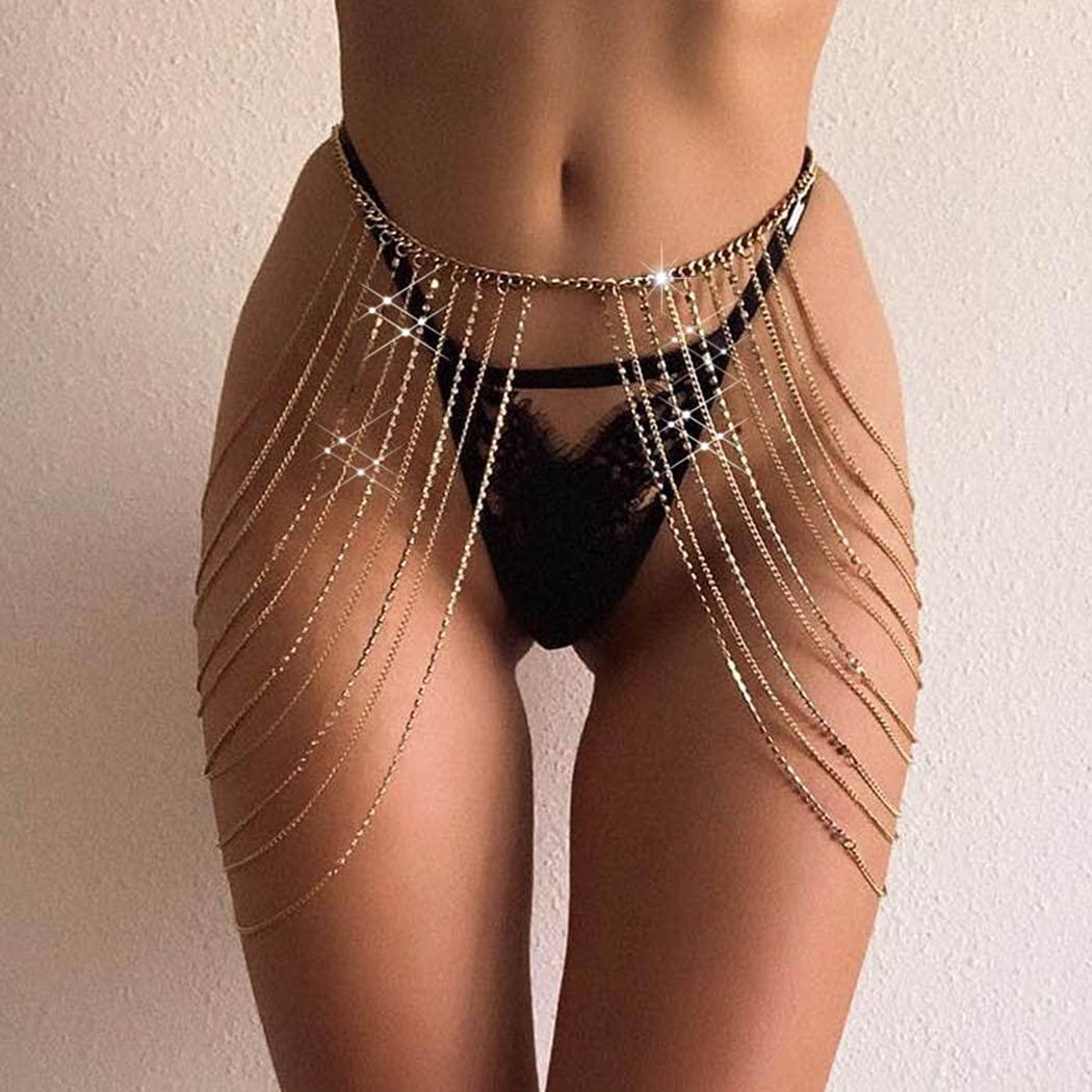Graeen Rhinestone Body Chains Crystal Waist Chains Layered Leg Chain Sexy Summer Thigh Chain Nightclub Tassel Belly Chain Jewelry for Women and Girls(Gold)