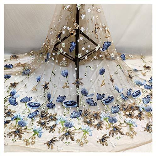 PHBSF Lace Fabric Floral Braut/Hochzeitskleid Stoff Garngefärbter Mesh Stickstoff Für DIY Craft Making Kleidung Accessoires(Size:4yard)
