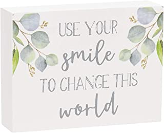 "Collins Painting Inspirational Mini Wood Block Sign, 4"" (Use Your Smile to Change The World)"