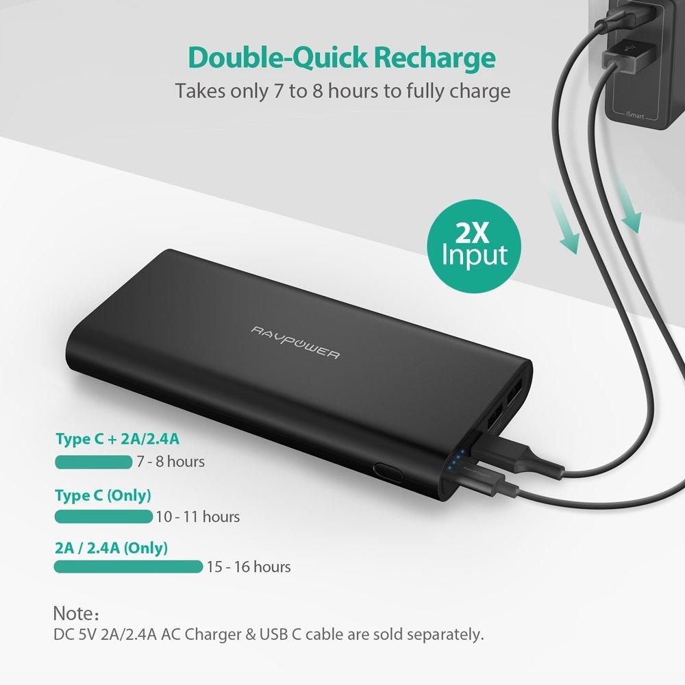 RAVPOWER Cargador portátil USB C Power Bank 26800 mAh de Doble Entrada con iSmart 2.0, Puerto Tipo C, Salida máxima de 5,4 A para iPhone XS/XS MAX/XR, iPad, Galaxy S9/S8, MacBook y