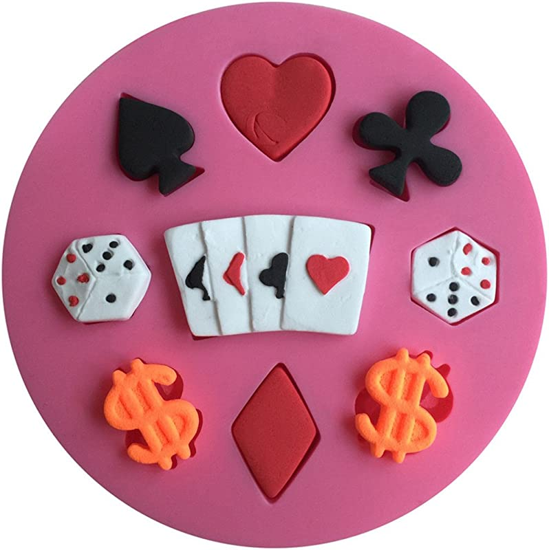 FLY Poker And Dollar 3D Silicone Fondant Cake Mold For Cake Decorating Baking Mould Pink