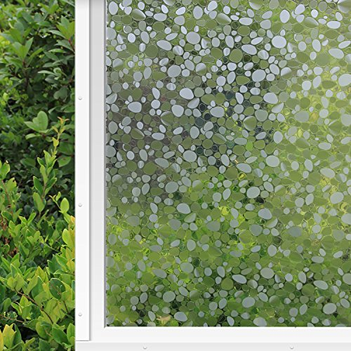 Decorative Window Film Non Adhesive Window Film Static Cling Window Film Cobblestone Window Film No-Glue 3D Window Flim Decorate with Suitable for Home and Office (17.7by78.7 Inch)