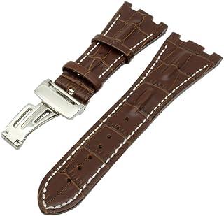 腕時計 For AP バンド カーフレザー ベルト取付幅28mm オーデマピゲ + 尾錠 + 工具 (ブラウン + 銀尾錠)