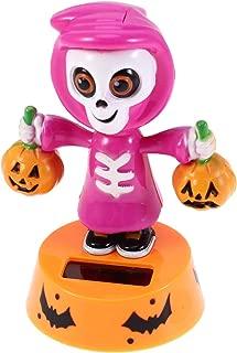 Happyyami Solar Powered Bobble Doll Halloween Skull Pumpkin Dancing Figure Toy Car Dashboard Decor Ornaments for Halloween Party Favors