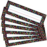 Pack of 50 Desk Name Plates, Yoklili Confetti School Name Tags for Classroom Desks, 3 x 10 inches