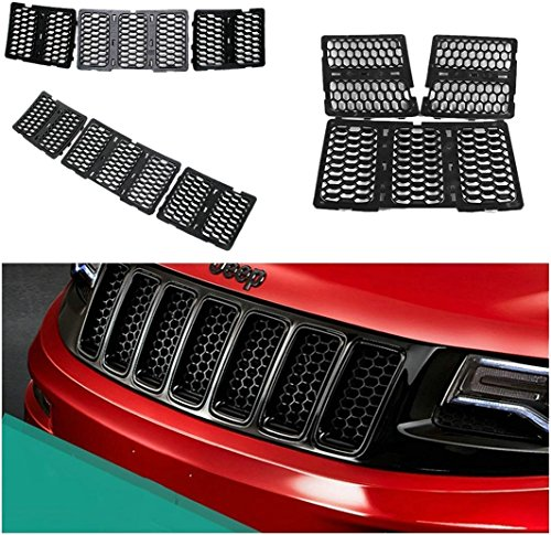 Danti Latest Honeycomb Matte Mesh Front Grill Grille Inserts Cover Kit 7 pc for Jeep Grand Cherokee 2014 2015 2016 (Black)