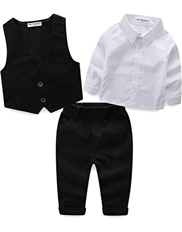 ebd097145711a LittleSpring フォーマル スーツ ベスト シャツ ズボン キッズ 男の子 長袖 セットアップ 子供服 ボーイズ 結婚式 発表