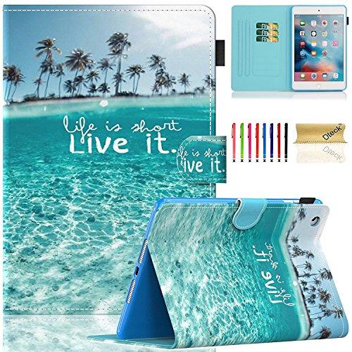 Dteck iPad Mini Case, Mini 2/3/4/5 Case, Slim Premium PU Leather Folio Stand Wallet Cover Smart with Auto Wake/Sleep Magnetic Case for Apple iPad Mini 1/ Mini 2/ Mini 3/ Mini 4/Mini 5, Beach