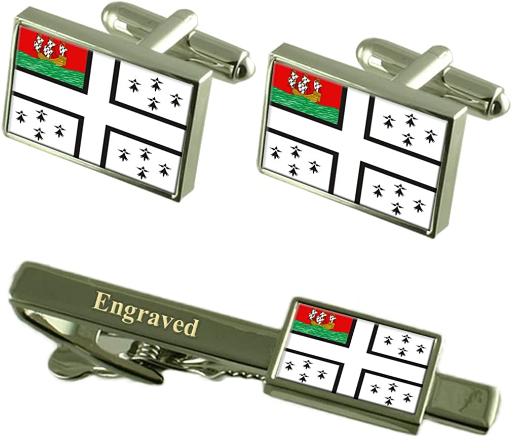 Select Gifts Nantes City France Flag Cufflinks Engraved Tie Clip Set