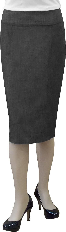 Baby'O Women's Stretch Denim Panel Pencil Skirt