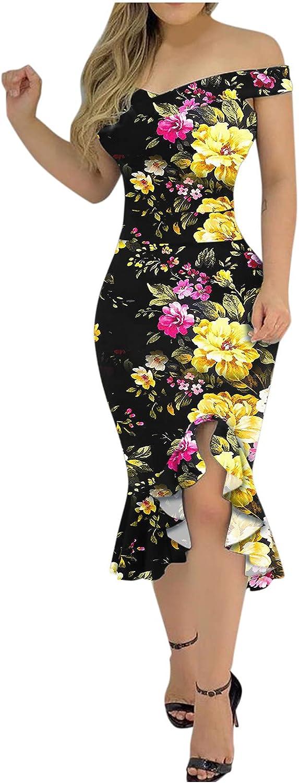ManxiVoo Women's Off Shoulder Ruffle Split Hem Cocktail Dress Plus Size Floral Print Pencil Party Dress