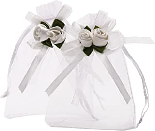 SumDirect 3.9x4.7 Inches Sheer Organza Wedding Favor Gift Bags White Rose Drawstring Pouches, Pack of 50