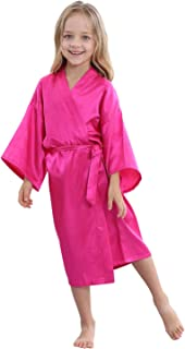 TIMSOPHIA Kids Satin Floral Kimono Robe-Flower Girl Bath Robe for Wedding Party Gift (Rose1, 6#(Height 35.4-39.4 inches / 3-5 Years))