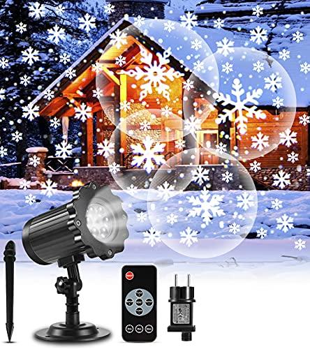 Projektor weihnachten außen GREEMPIRE LED Projektor Lampe Schneeflocke Schneefall Lichter mit Fernbedienung, Wasserdicht Projektionslampe Weihnachtsbeleuchtung für Kinder Baby Party innen und Outdoor