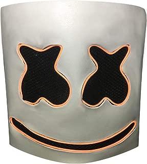Luminous Helmet Mask Cosplay Prop Halloween Mask Full Face Cosplay Prop Halloween Party Bar Music Masks - Orange